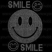 Vasalható strasszköves textil transzfer Smile A4