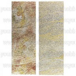 Öntapadó textil jellegű anyag, Csillogó hullámok 10x29 cm 2 db