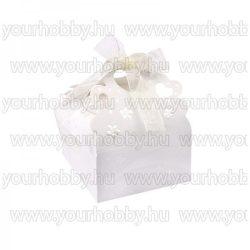 Hajtogatható papírdoboz, dombornyomott, gyöngyház fehér, szatén szalaggal 7x7x4 cm