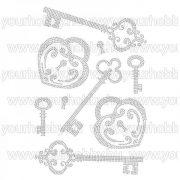 Vasalható strasszköves textil transzfer  Kulcsok, Lakatok A4