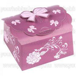 Hajtogatható papírdoboz, padlizsán, rózsaszín, gyöngyház bevonat 12x12x6cm