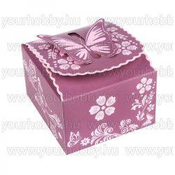 Hajtogatható papírdoboz, padlizsán, rózsaszín, gyöngyház bevonat 10x9x6cm