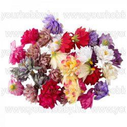 """Dekorációs virágok, """"Krizantém"""" 3cm különböző színűek, 14g kb. 30db"""