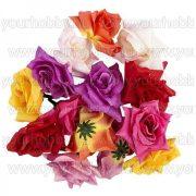 """Dekorációs virágok, """"Rózsa 2"""", 5cm élénk színek 14db"""