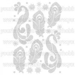 Vasalható strasszköves textil transzfer Pávatollak A4