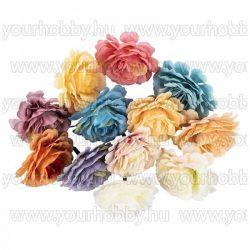 """Dekorációs virágok, """"Bazsarózsa"""", 5cm különböző színűek 12db"""