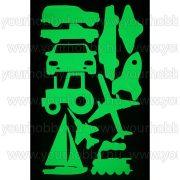 Foszforeszkáló dekor matrica - járművek