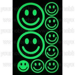 Foszforeszkáló dekor matrica - smiley