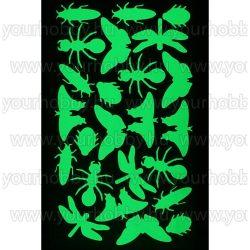 Foszforeszkáló dekor matrica - rovarok