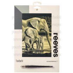 Reeves arany képkarcoló készlet - Elefántok 20x25,5 cm