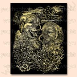 Reeves arany képkarcoló készlet - Kutyusok 20x25,5 cm