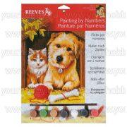 Reeves festés számok után Cica és kutya piros gombolyaggal