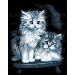 Reeves ezüst képkarcoló készlet - Pihés cicák 20x25,5 cm