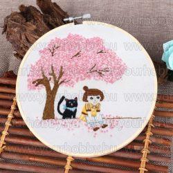 Hímzőráma készlet, Kislány fekete cicával 20 cm