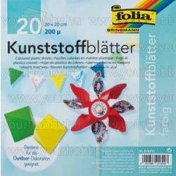 Színes műanyaglapok, 20 db színes, 20 x 20 cm