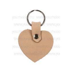 Bőr kulcstartó, szív alakú