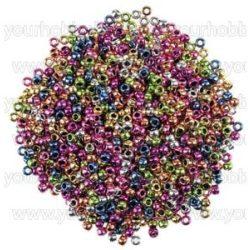 Műanyag gyöngy - Kongó, metál / kb. 1000 db