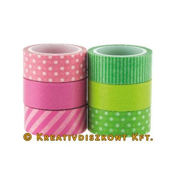 Mintás ragasztószalag, pink/zöld, 6 db