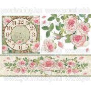 Dekupázs rizspapír, Clock with roses DFS312