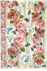 Dekupázs rizspapír  Kották és rózsák  DFS268
