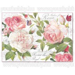 Stamperia dekupázs rizspapír 48x33 cm Vintage rózsa DFS394