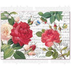 Stampéria dekupázs rizspapír 48x33 cm Vörös rózsák és kotta DFS397
