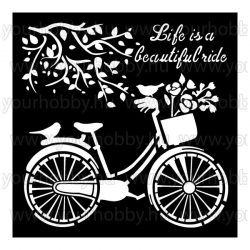 Stamperia stencil 18x18 cm Bicikli KSTDQ18