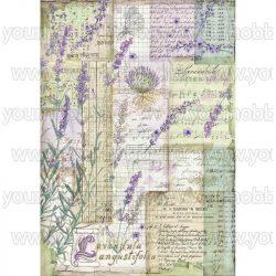 Stamperia Dekupázs rizspapír A4 Levendula fantázia DFSA4455