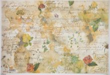 Dekupázs rizspapír, virágok és költészet  DFS018