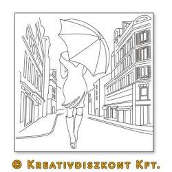 Sziluett papír, Nő esernyővel  DFTM07