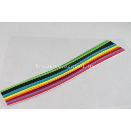 Quilling papírszett, élénk színek, 30 cm x 3 mm 300 db