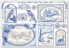Dekupázs rizspapír, kék postakártya  DFS294