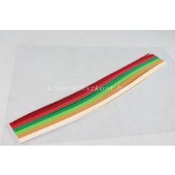 Quilling papírszett, karácsonyi színek, 30 cm x 3 mm 300 db