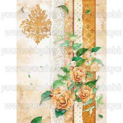 Stamperia Dekupázs rizspapír A4 Rózsák barna mintákkal DFSA4416