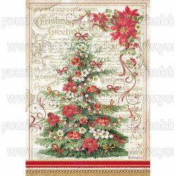 Stamperia Dekupázs rizspapír A4 Karácsonyi üdvözlet fa DFSA4476