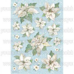 Stamperia Dekupázs rizspapír A4 Mikulásvirág textúra DFSA4494