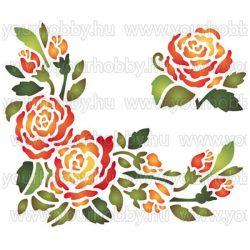 Stamperia Stencil 20x15 cm Rózsa központ KSD81