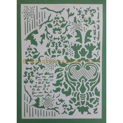 Stamperia Stencil 21x29,7 cm - Dekoráció írással KSG405