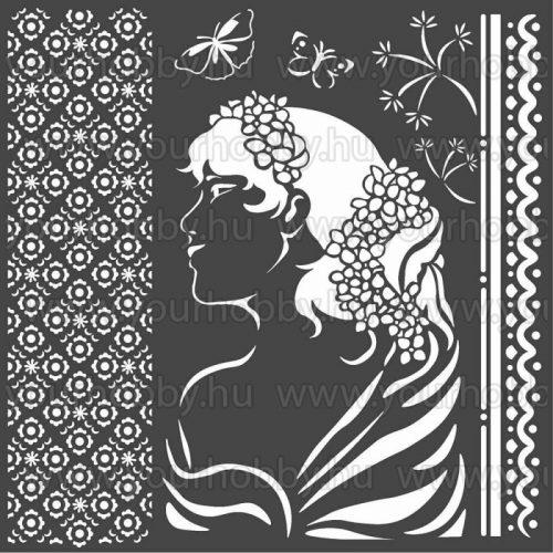 Stamperia Stencil 18x18 cm Hölgy oldalról KSTDQ40