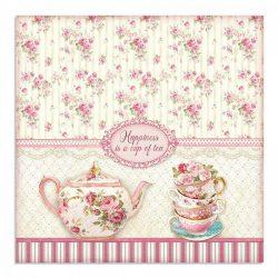 Stamperia kétoldalas papír 31,5x30 cm - Egy csésze tea SBB736