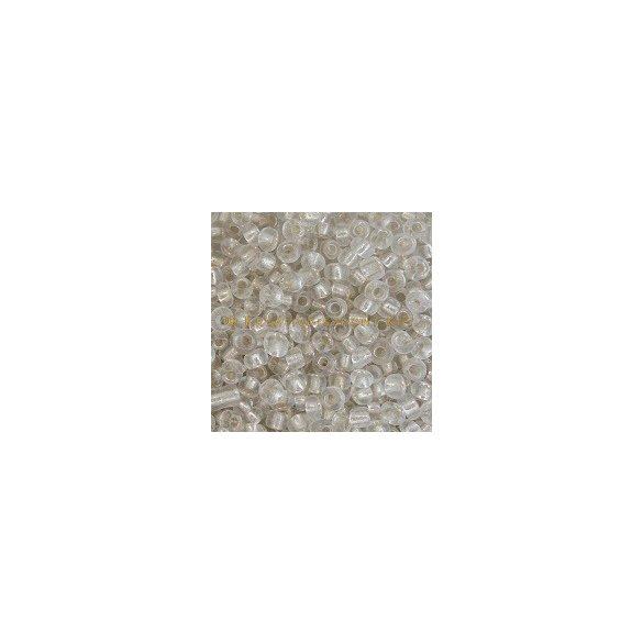 Keleti kásagyöngy ezüstközepű sok színben 2 mm-es 20gr/ cs. - átlátszó