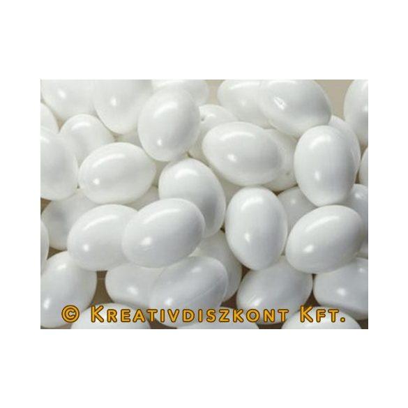 Fehér műanyag tojás, 6 cm