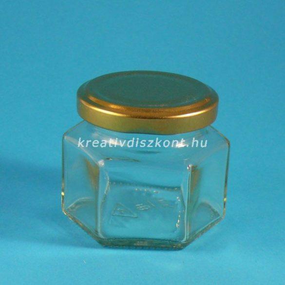 Szögletes kicsi díszüveg, csavaros tetővel, 75 ml -es