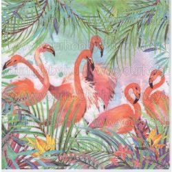 Szalvéta Flamingók virágok között