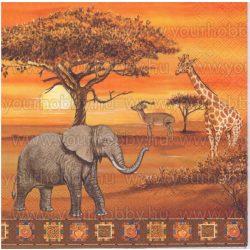 Szalvéta Afrikai állatok naplementében
