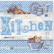 Szalvéta Kék konyha cicákkal