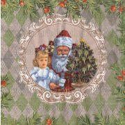 Szalvéta, Karácsonyi, Mikulás és kislány keretben