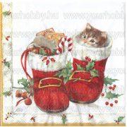 Szalvéta, Karácsonyi, Cica csizmában