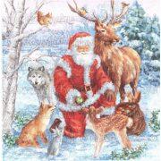 Szalvéta, Karácsonyi, Mikulás erdei állatokkal