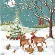 Szalvéta, Karácsonyi, Karácsonyfa erdei állatokkal